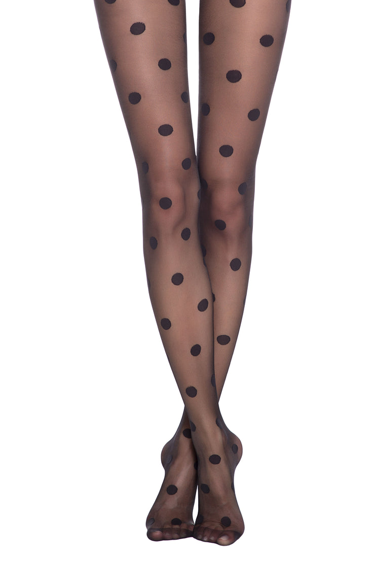 Black sheer Polka Dot patterned tights with big dots Conte Elegant Rondo 20 den
