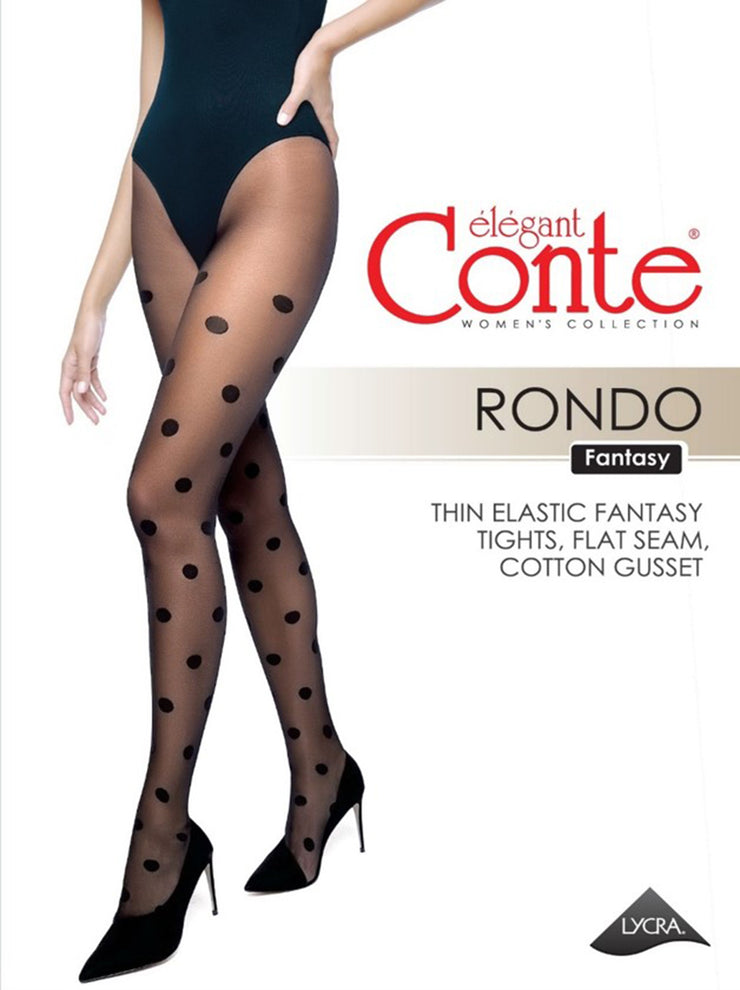 Polka Dot patterned tights with big dots Conte Elegant Rondo 20 den