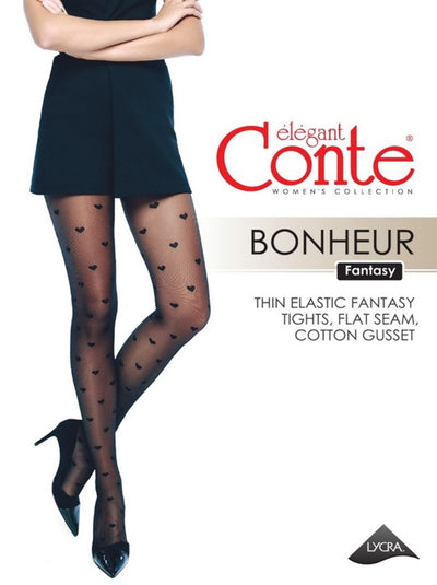 Polka Heart 20 denier tights with classic love heart pattern Conte Elegant Bonheur