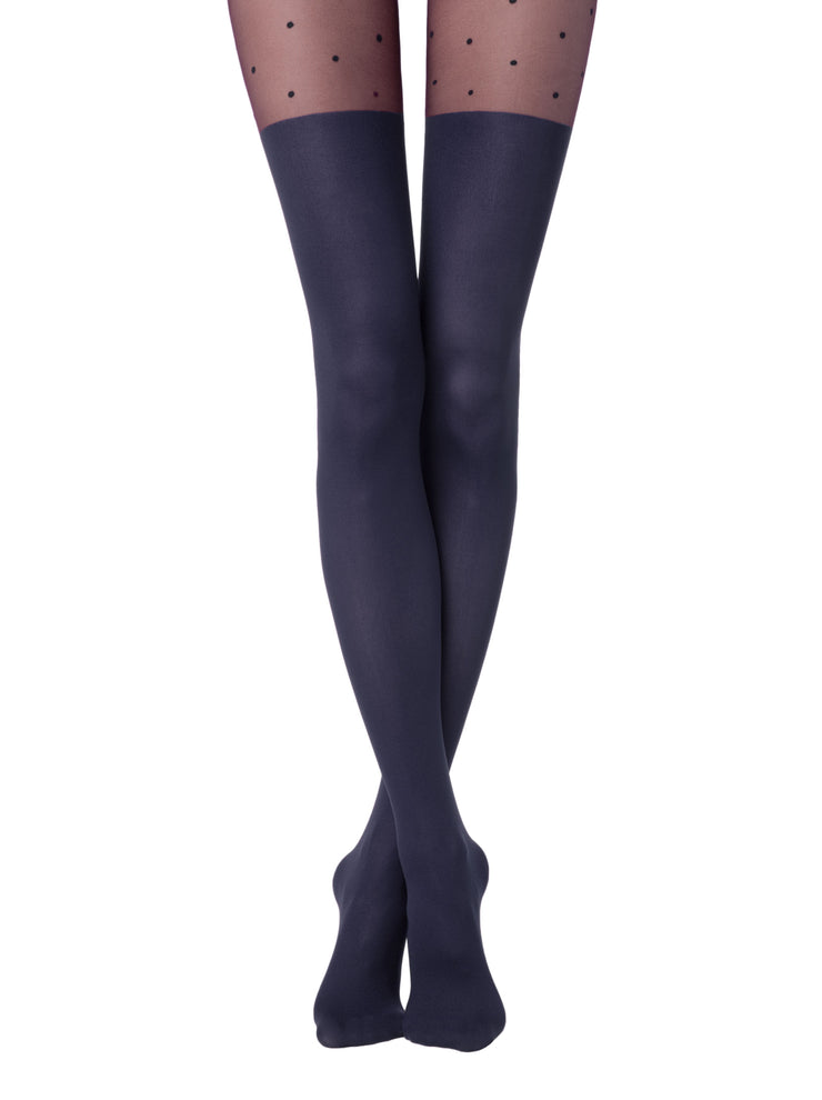 Dark blue colored knee high tights pantyhose with polka dot pattern Sensation by Conte Elegant