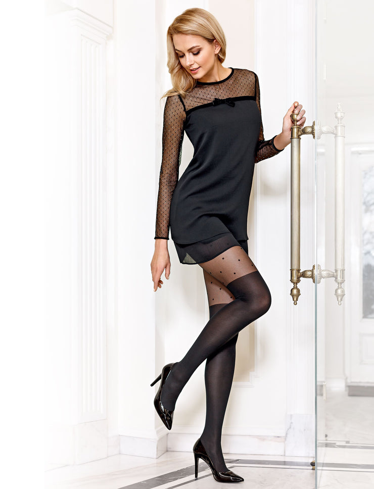 Knee-socks imitation tights SENSATION 60 den black