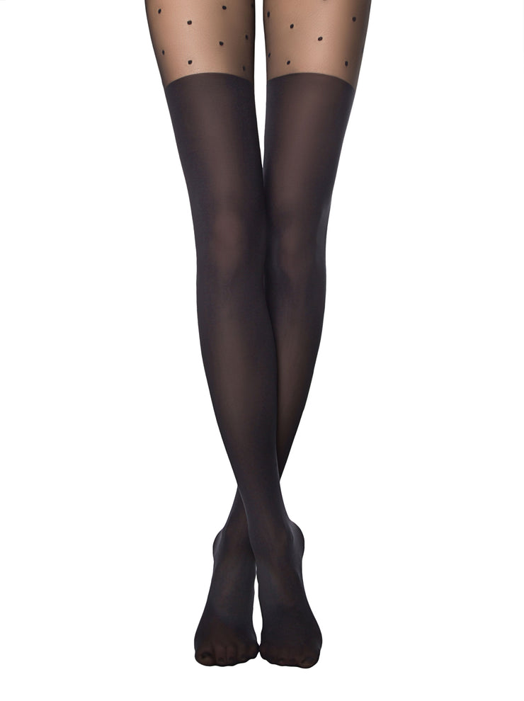 Black knee high tights pantyhose with polka dot pattern Sensation by Conte Elegant