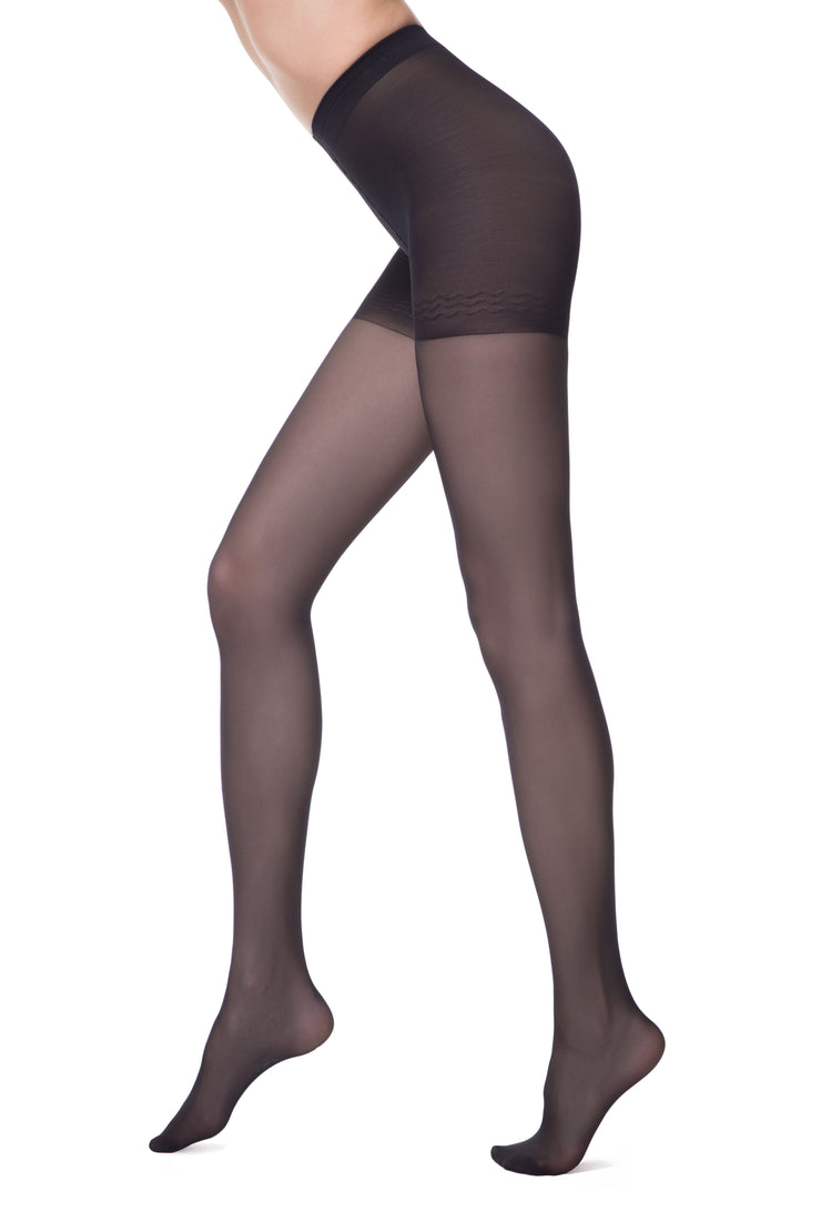 Shapewear support hose push up tights black pantyhose with compression pants 40 denier Conte Elegant Control