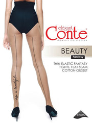 Backseam Tights with a cursive script BEAUTY 20 den