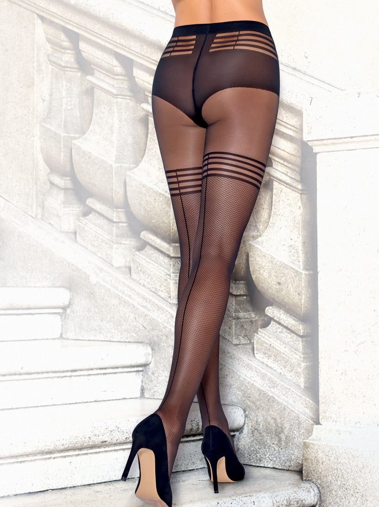 Sheer suspenders sexy fishnet stockings hold-ups tights pantyhose Impress by Conte Elegant