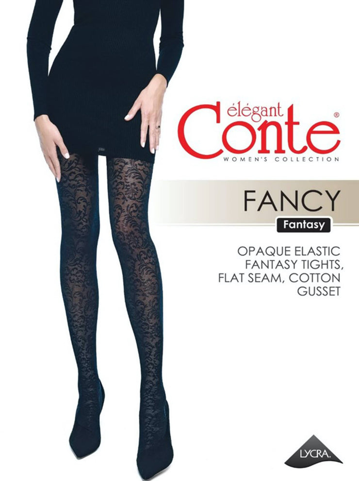 40 denim tights with floral pattern FANCY