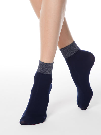Navy shiny lurex socks