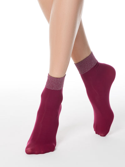 Bordo shiny lurex socks