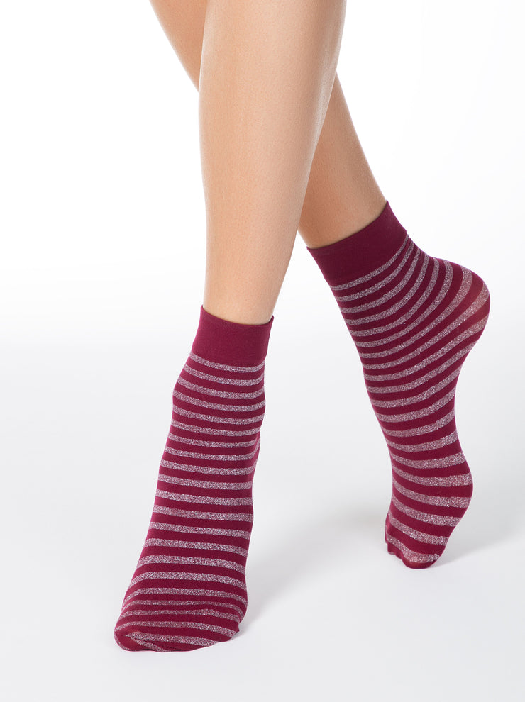 Conte Elegant Glitter Socks for women, have a shiny Lurex stripes, burgundy color