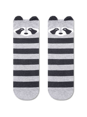 Women's grey cotton socks with raccoon family look by Conte Elegant