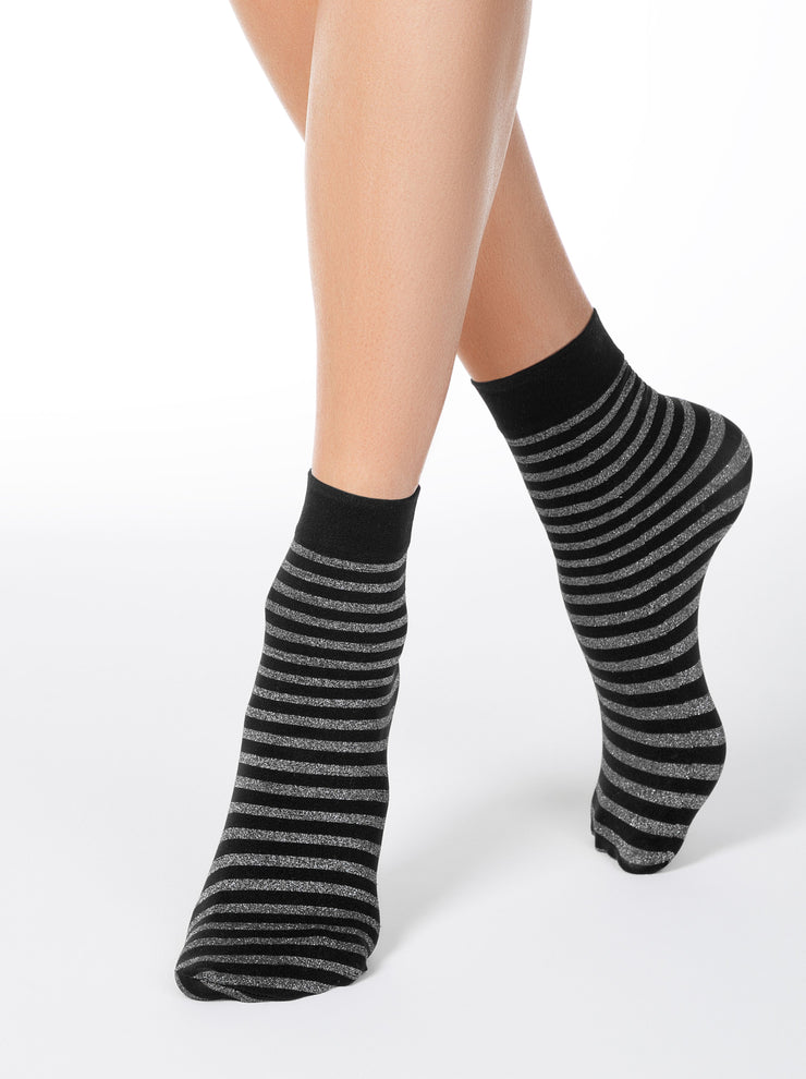 Conte Elegant Glitter Socks for women, have a shiny Lurex stripes, Dark-Blue color