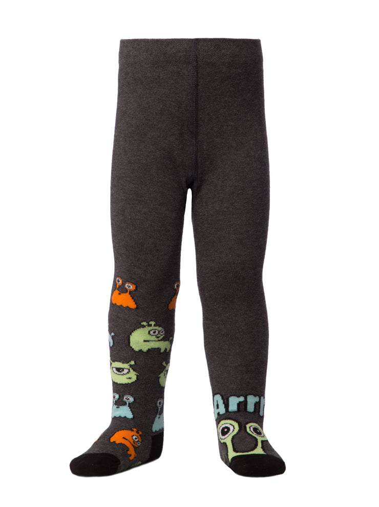 baby boy cute monsters tights kids toddler tights grey color by Conte-Kids