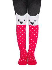 Baby girls tights with puppy face black and pink color by Conte-Kids