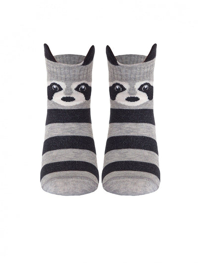 Striped baby socks grey color with raccoon by Conte-Kids