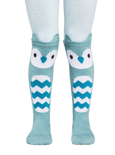 Baby girls tights with owl face blue and turquoise color by Conte-Kids