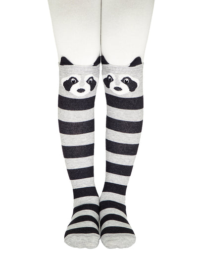 Striped daby tights for girls and boys with raccoon face white and grey color by Conte-Kids