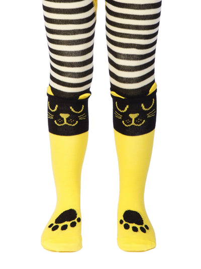 Baby tights for girls and boys, yellow and black, with cat face