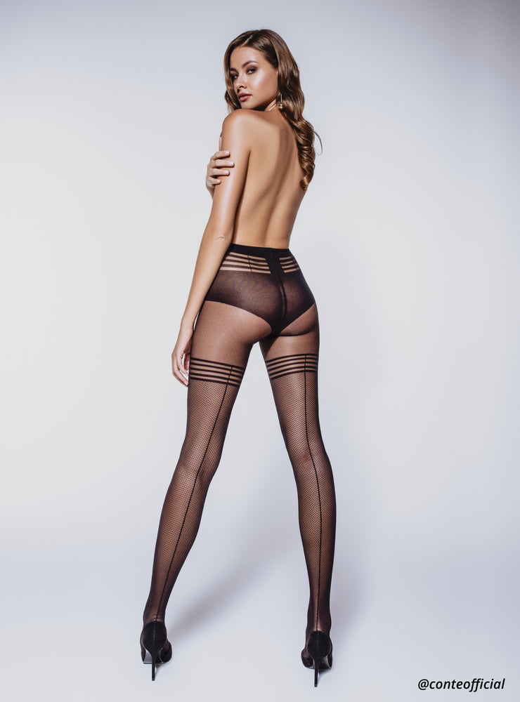 Black fishnet imitation thigh high tights with back seam Conte Elegant Impress. 25 denier stockings imitation pantyhose with fishnet pattern.