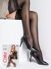 20 denier sheer stockings hold ups with wide lace top and silicone tapes Conte Elegant Flame