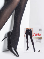 Black opaque polka dot tights with white dots Conte Elegant Point