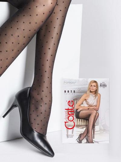 Sheer Black Polka Dot tights with small dots pattern Conte Elegant Dots