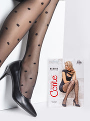 Black modern polka dot tights with big dots Conte Elegant Desire 20 denier