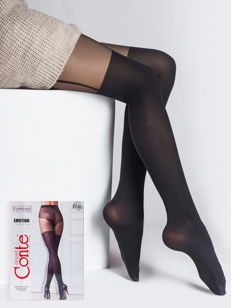 Suspender stockings imitation black tights pantyhose Emotion by Conte Elegant