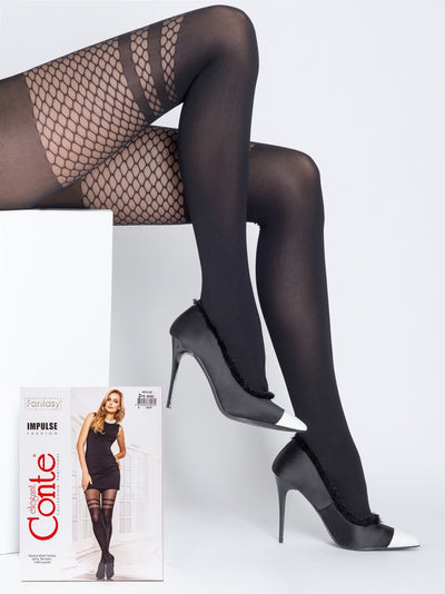 Stockings imitation black tights with fishnet pattern Conte Elegant IMPULSE 60 den