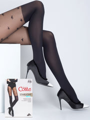 Black knee high tights pantyhose with stars pattern Starlight by Conte Elegant