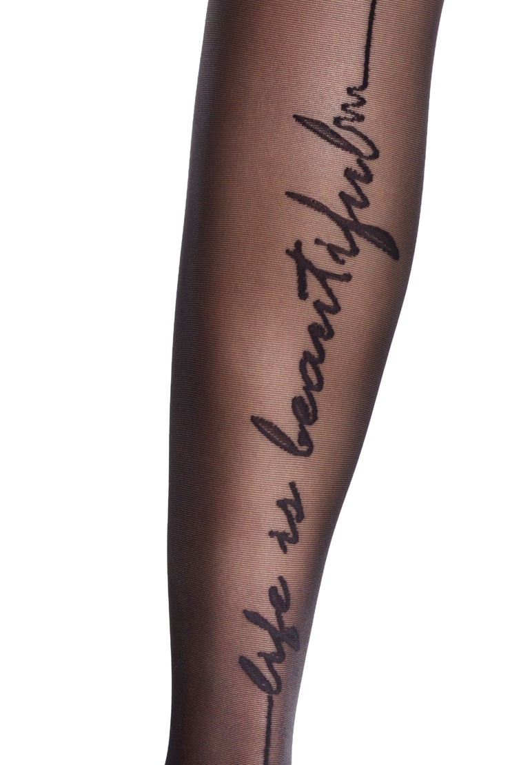 "Backseam tights with a cursive script pattern ""Life is Beautiful"" Conte Elegant Beauty 20 den"
