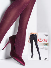 Bordo Marsala colored opaque polka dot tights with white dots Conte Elegant Point
