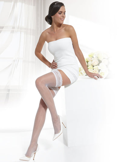 Fishnet bridal wedding stockings hold ups white and ivory color Conte Elegant Bellissima