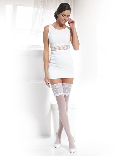 Sheer bridal wedding stockings hold ups with wide lace top white and ivory color Conte Elegant Grace