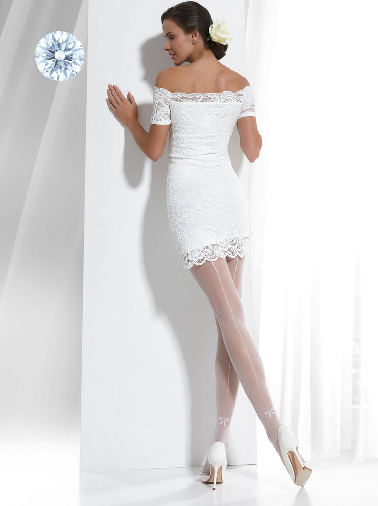 Sheer bridal wedding back seam tights pantyhose white and ivory color Conte Elegant Event