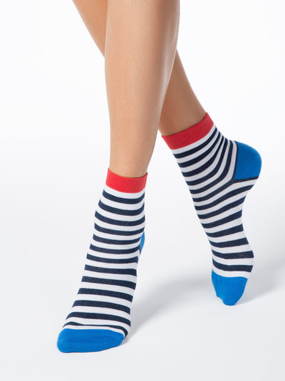 Сotton socks with dark-blue strips