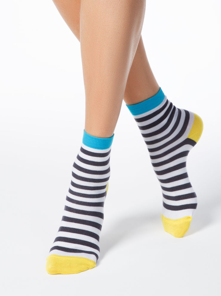 Сotton socks with dark-grey strips