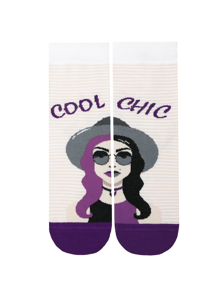 Cool and crazy funny Socks by Conte Elegant with girl stylish girl pattern