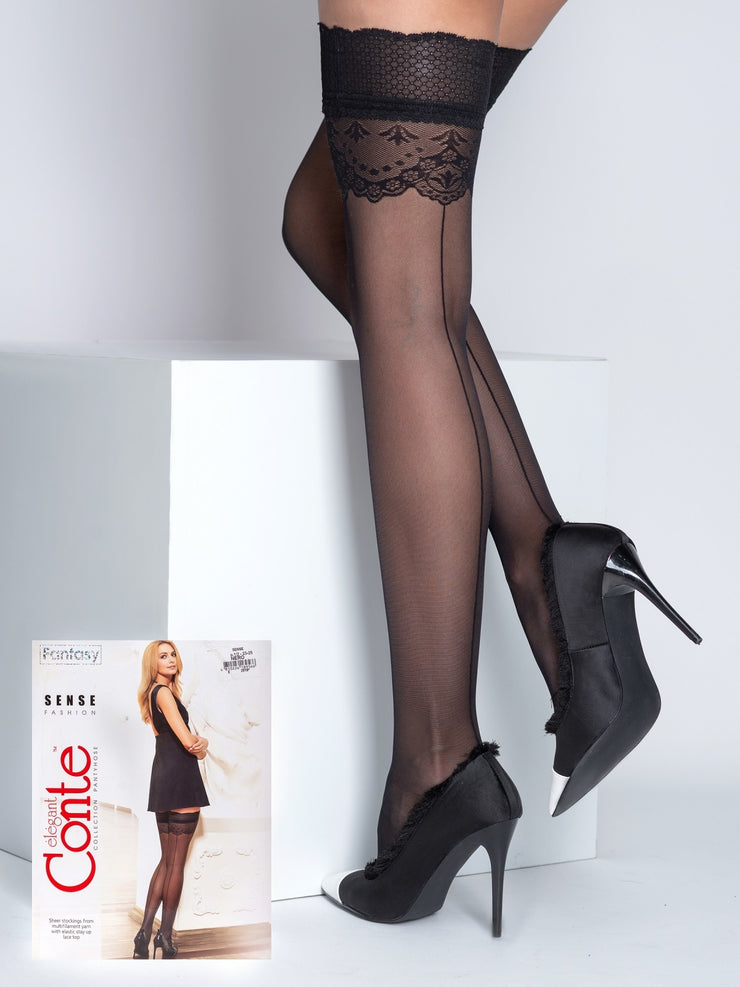 Black patterned Back seam stockings hold ups with lace top Conte Elegant Sense 20 denier