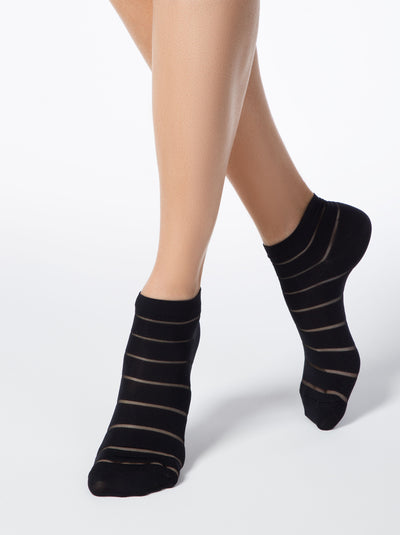 funny fashion women's ankle socks black color by Conte Elegant