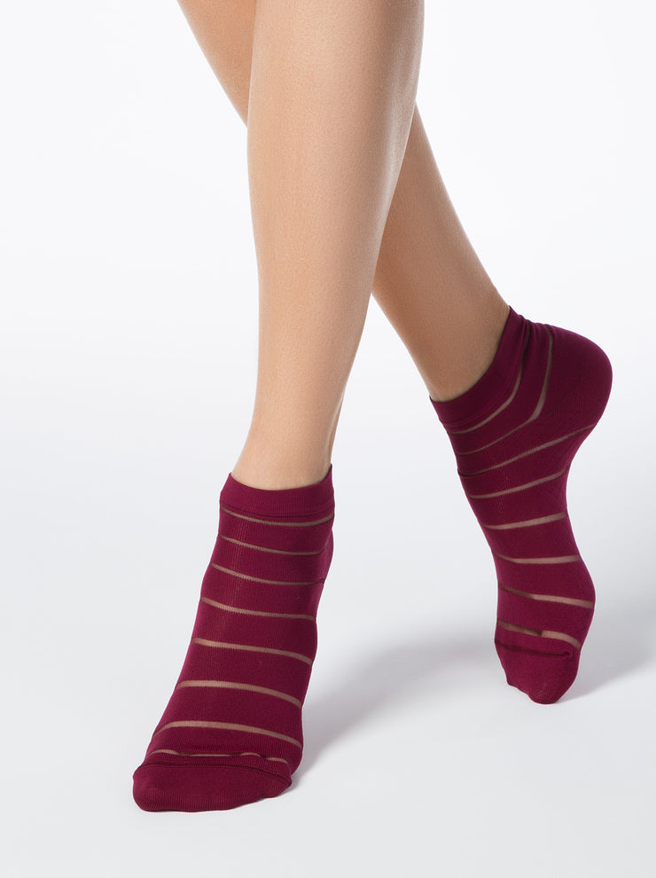 Burgundy funny women's ankle socks by Conte Elegant
