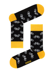 Happy and Cool Men's Crew Socks with bicycle print by DiWaRi