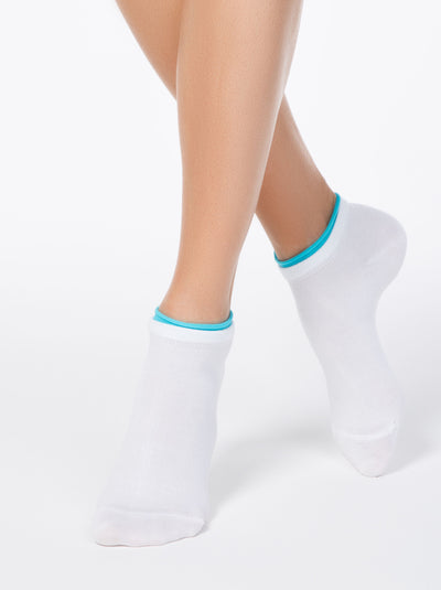 most comfortable white ankle socks with blue decorative lining: running sport fitness Socks by Conte Elegant