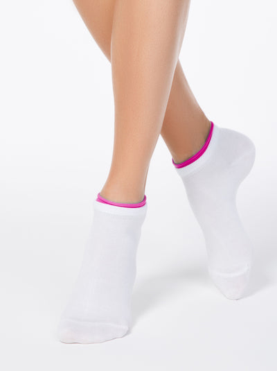 most comfortable white ankle socks with pink decorative lining: running sport fitness Socks by Conte Elegant