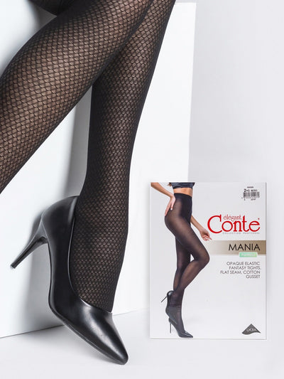 Black opaque patterned tights with small pattern Conte Mania 30 den