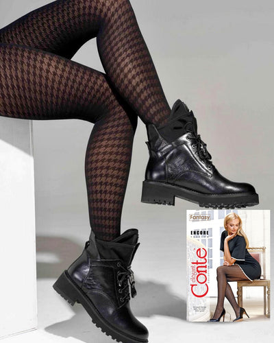 Black houndstooth tights with pattern Conte Elegant Encore