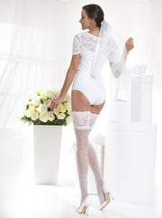 Sheer bridal wedding stockings hold ups with a romantic floral pattern on the back of the legs white and ivory color Conte Elegant Glory