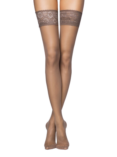 12 denier ultra-thin sheer stockings hold ups with lace and silicone tapes Conte Elegant Class