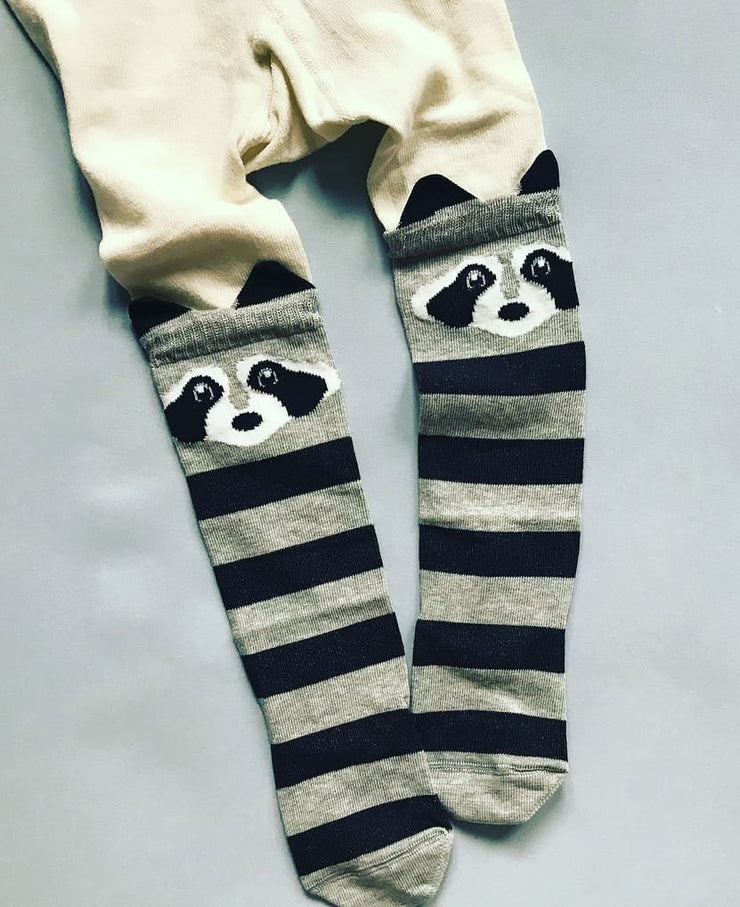 Girls patterned tights raccoon