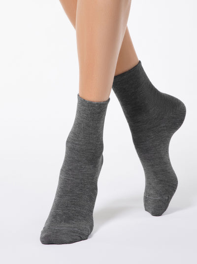 soft and warm merino wool women's Socks dark grey color by Conte Elegant