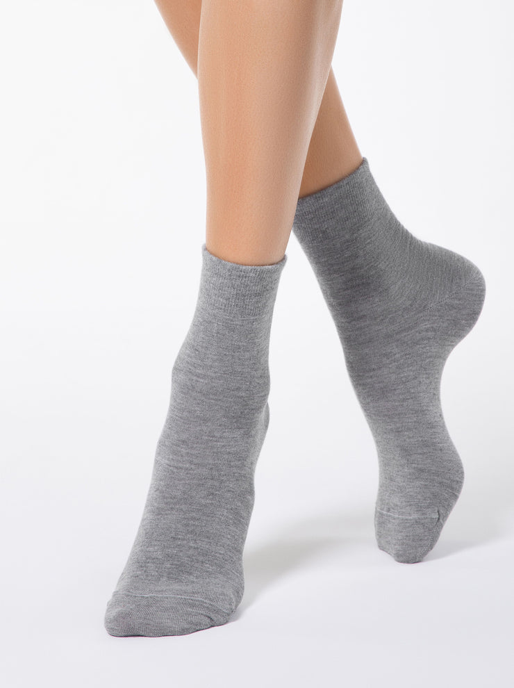 Warm and skin friendly merino wool women's Socks grey color by Conte Elegant